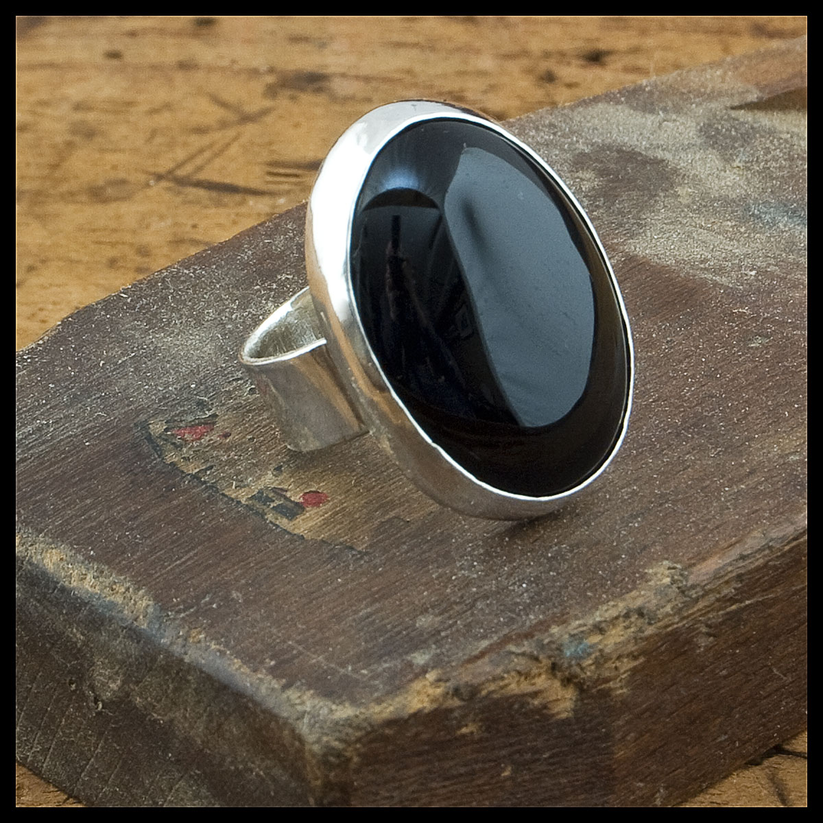 Scarlet's black onyx and sterling silver ring
