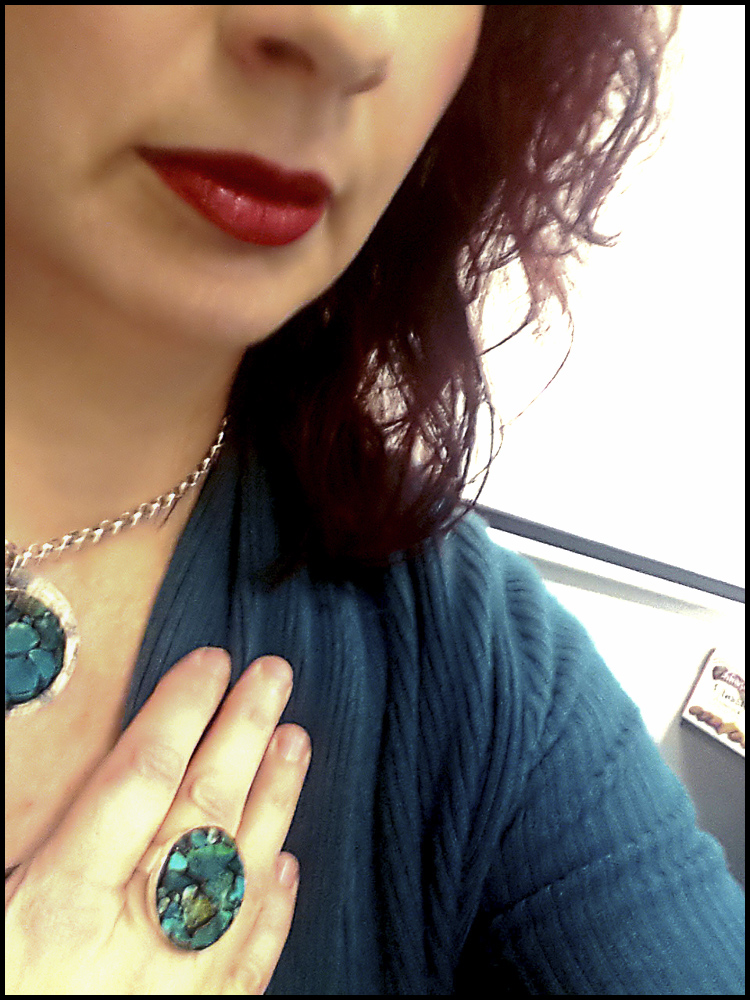 Scarlet wearing the day 6 creative challenge chrysocolla ring and pendant