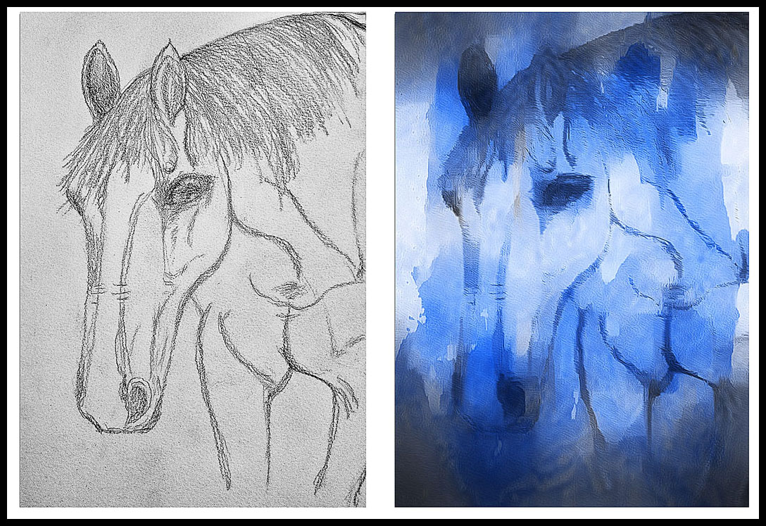 Scarlet's drawing of Theo - before and after