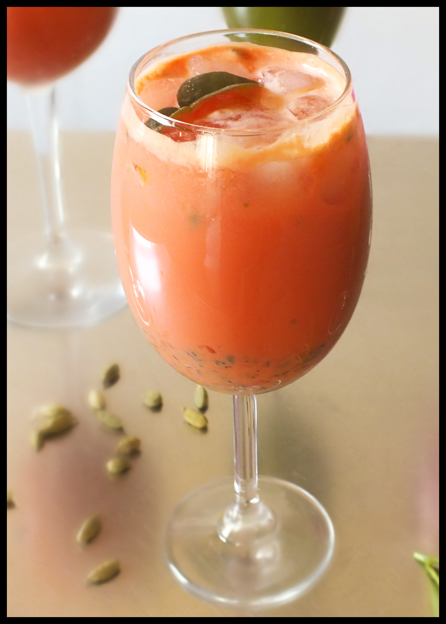 Trish's carrot, coconut milk, passion fruit and lime smoothie