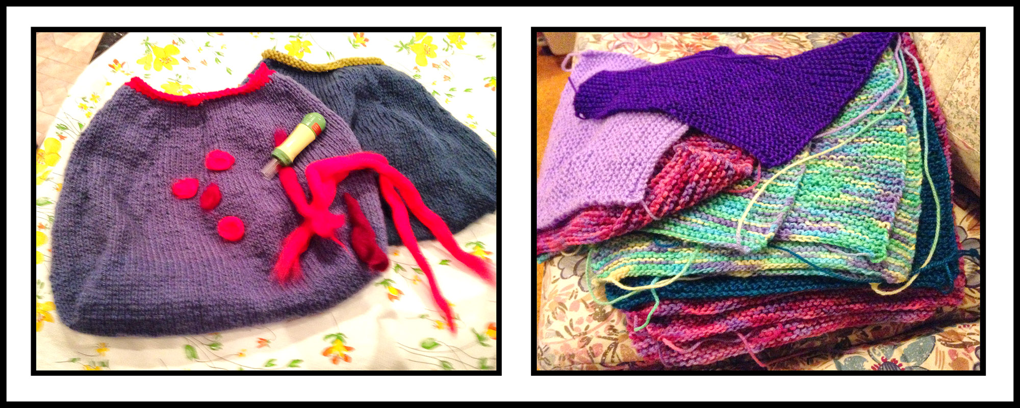 This week's knitted bags, along with some squares for Wrap with Love. Who's been a busy knitter, then?