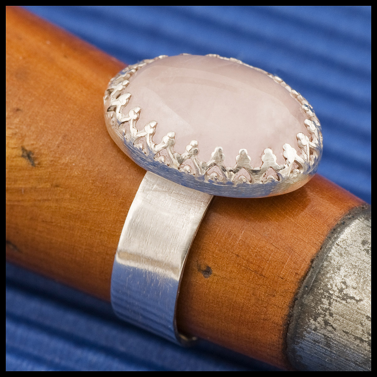 Hannah's ring: rose quartz with brushed sterling silver