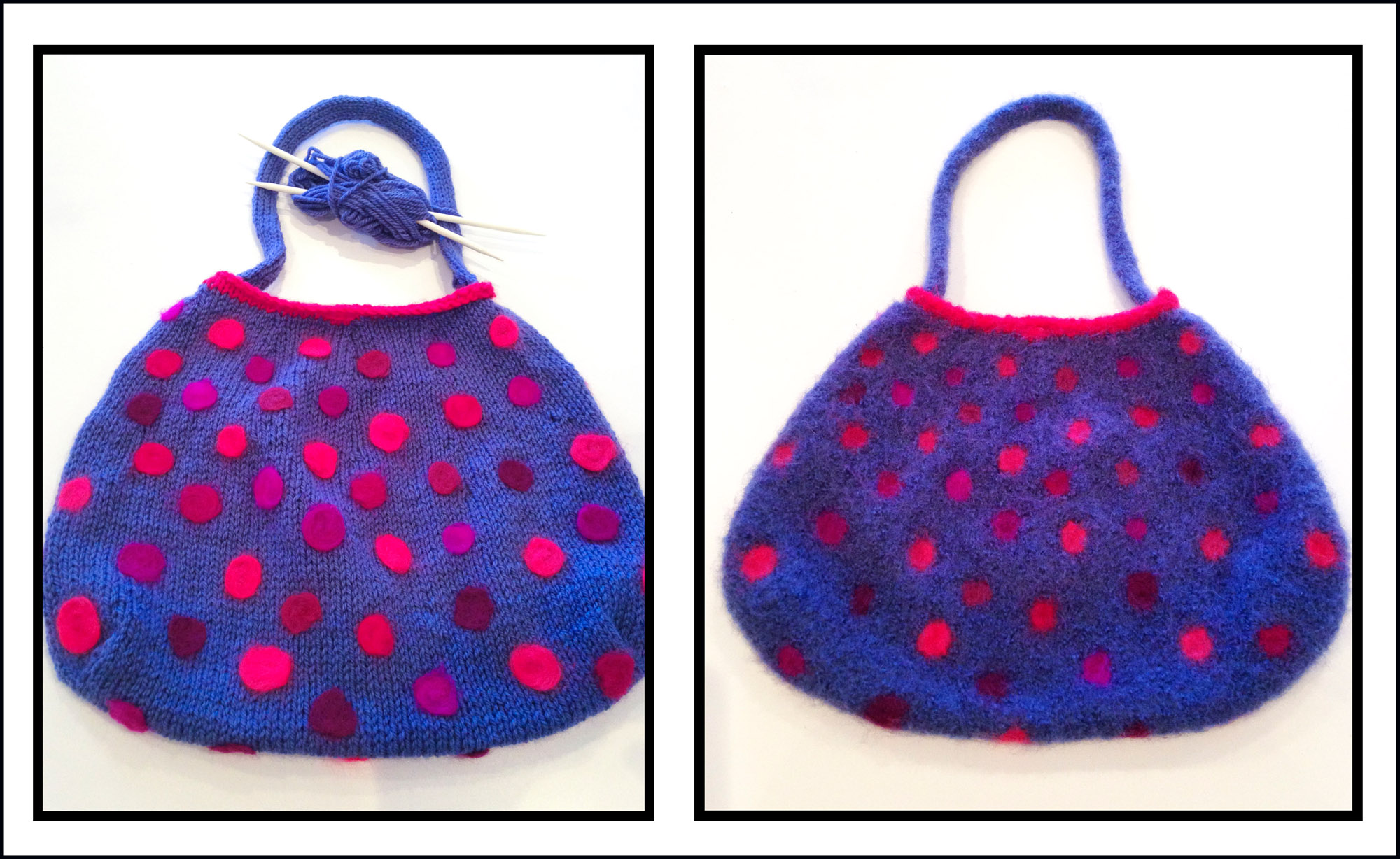 Before and after: Telena's knitted bag turned into a cheerful spotty bag.