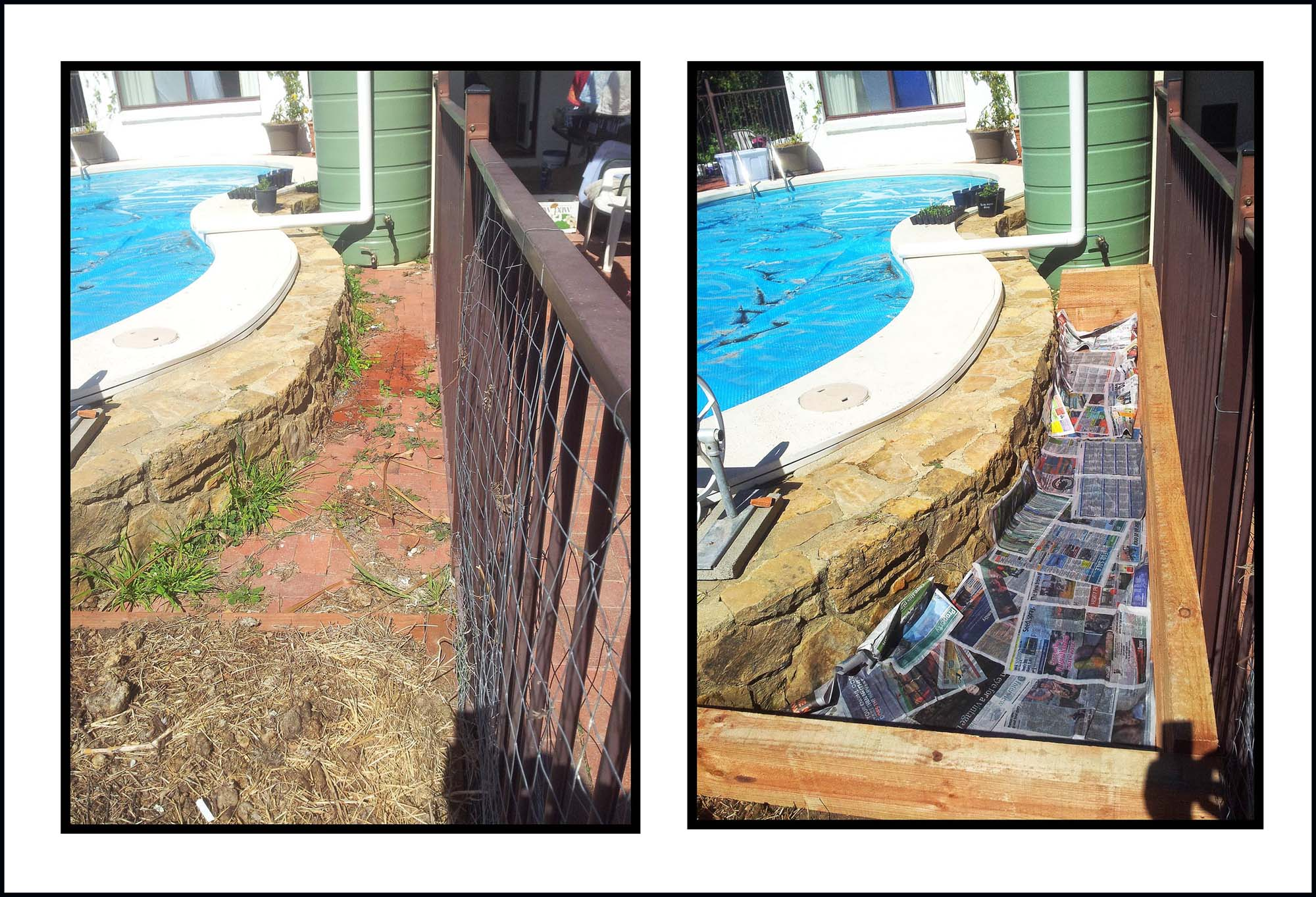 Our new pool garden bed: Before and during construction.