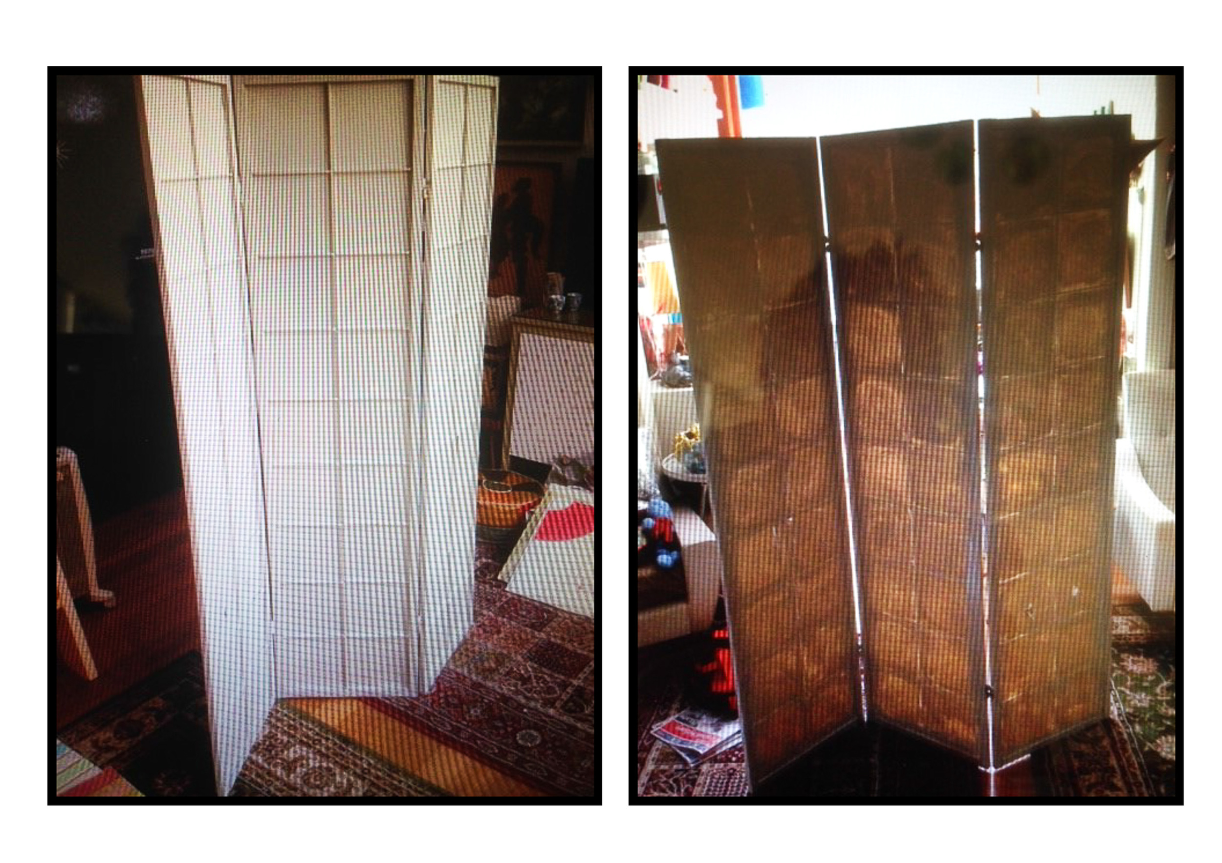 Kanen's Screen: Before and after a coat of white paint to brighten it up a bit.