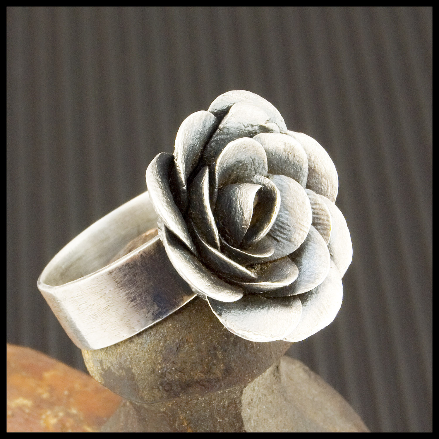 Fine Silver Rose Ring