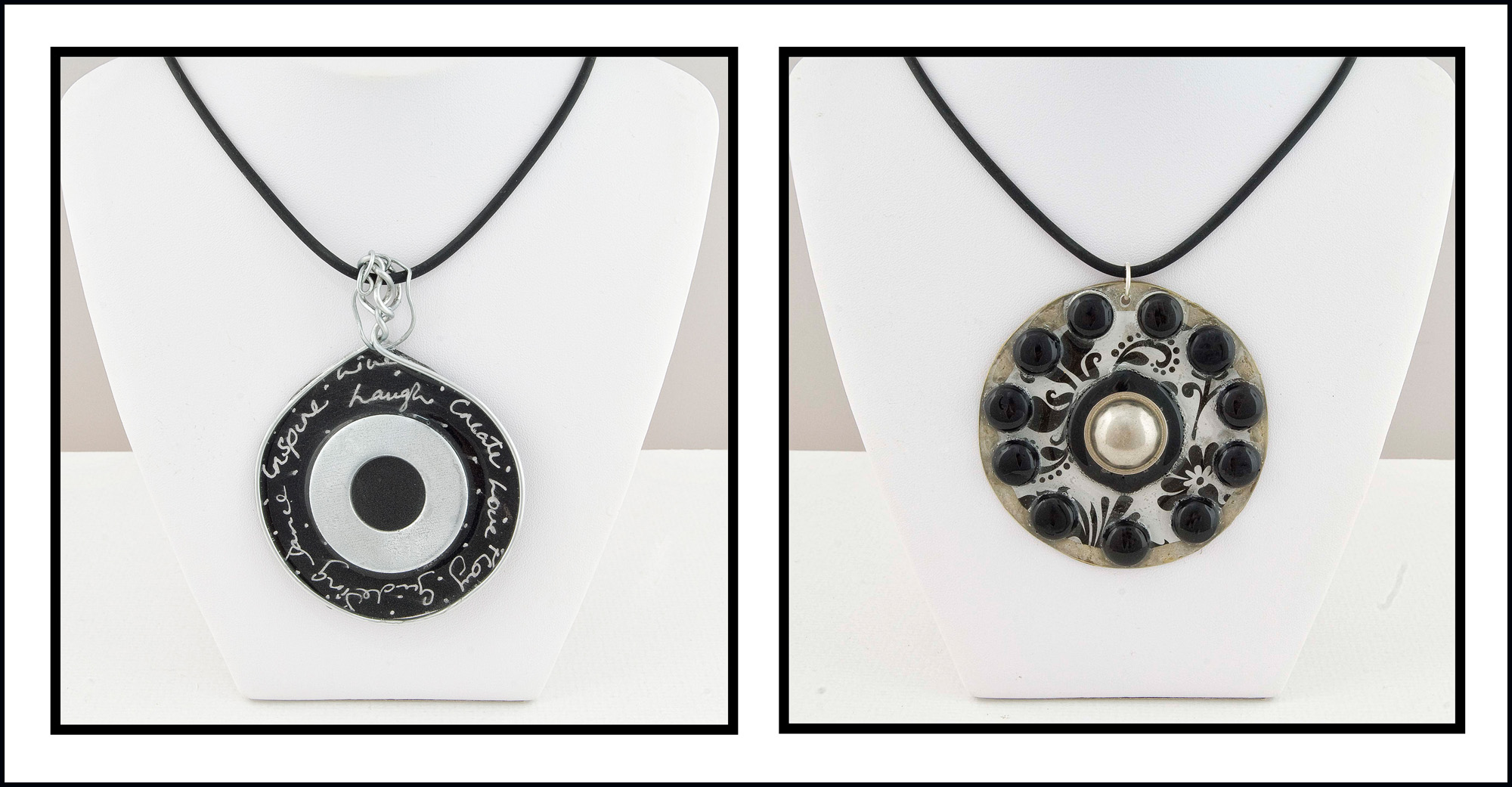 The pendant on the left is made with galvanised steel wire, a large metal  washer, resin, and black card which I've written on with a silver pen. The pendant on the right has a brass base which I've edged with German silver enamel. The centre contains a circular disk of black and white floral wrapping paper edged with black screw caps, The centre piece has a large chrome knob that was intended to be placed on the end of curtain rods, and I've set the knob on a black rubber washer. I reckon these pieces are quite cool and I'm hoping Lucy, my eldest, will take them in and give them a good home.