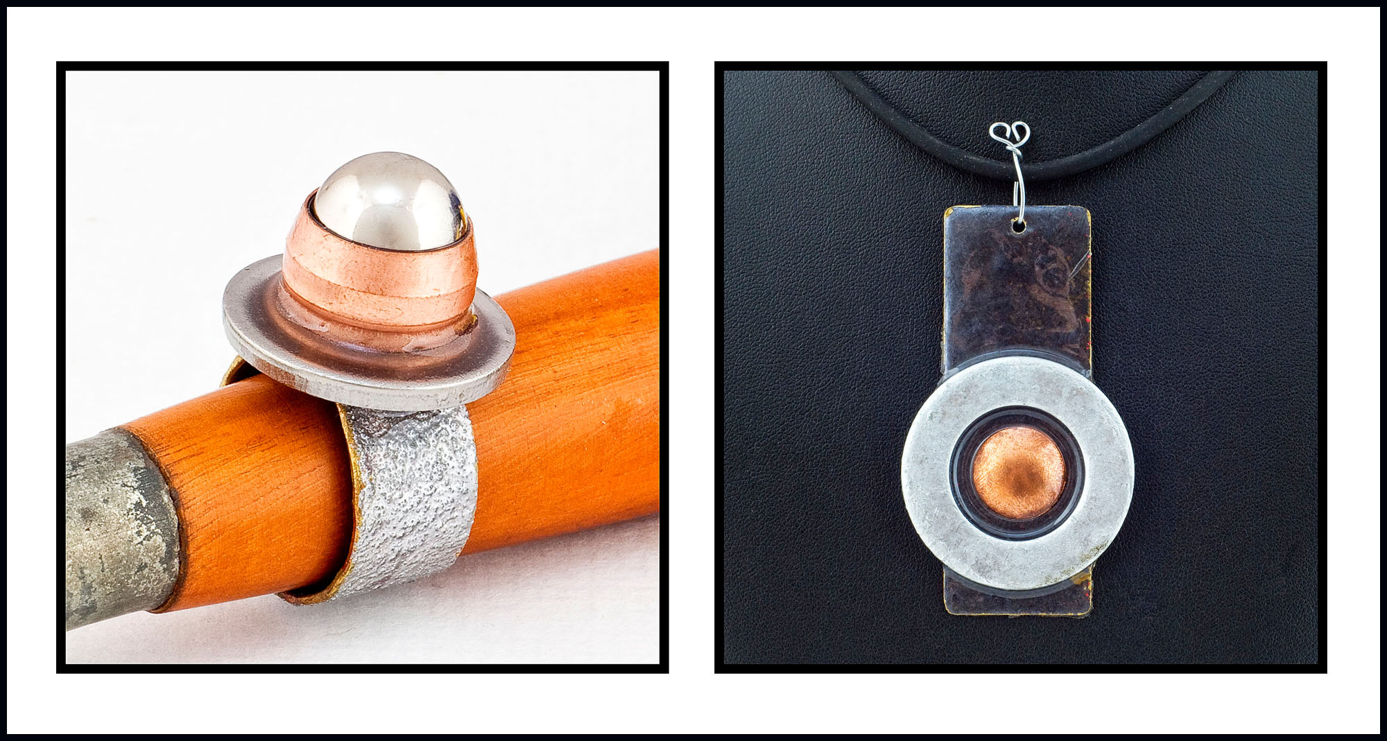 The ring setting is made with a washer, some copper tubing and a ball bearing. I made the pendant with copper, a large washer, some pewter enamel, galvanised steel wire and resin.