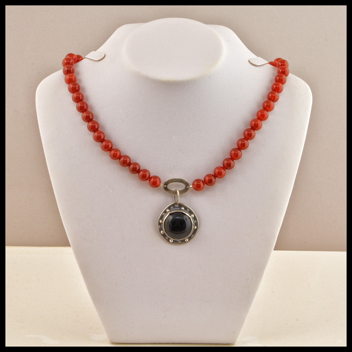 Carnelian and Black Onyx Necklace