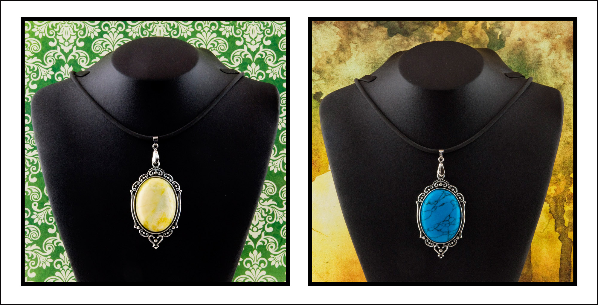 Turquoise and yellow marble pendants
