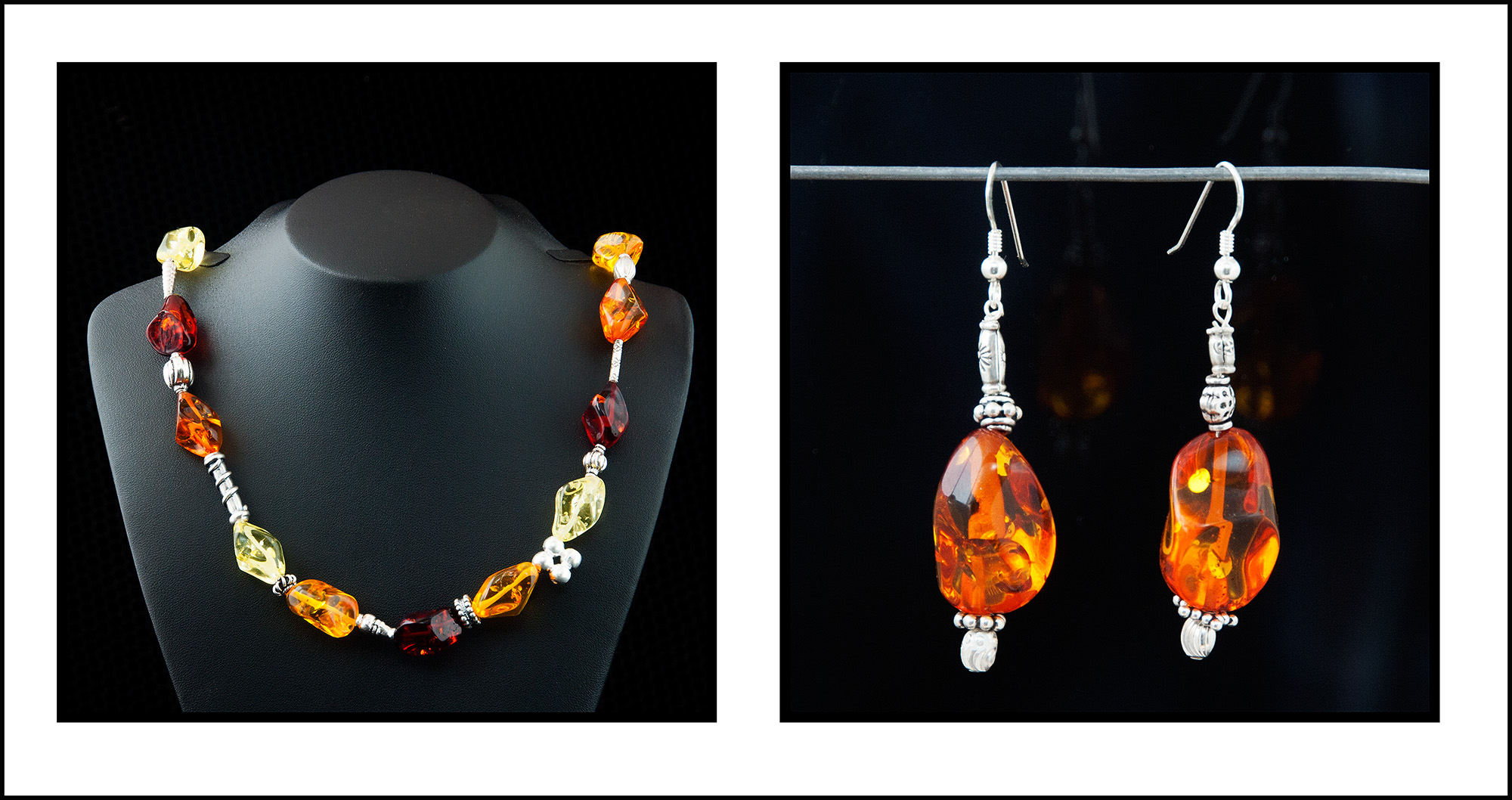 Amber and sterling silver necklace set