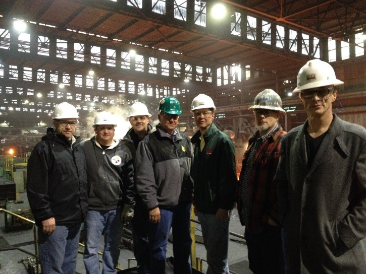 (Figure 2) Left to Right: Doug Dye, Miller Supply; Shane Huffman, AE Geologist; Cliff Simmons, AE Director of Operations; Dan Allen, Miller Supply; John Emmerling, AE VP/COO; Jim Watson, AE Director of Unconventional Operations; and author Vince Delbrugge, AE Manager, Unconventional Drilling Operations.