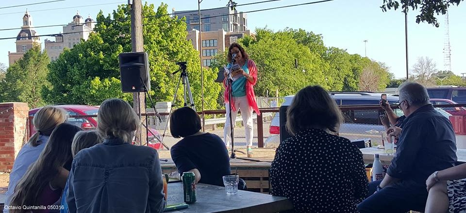 Photo by Octavio Quintanilla at the Big Give Reading 2016, at Viva Taco Land! It is NEVER too late to donate to Gemini Ink, the Guadalupe Cultural Arts Center (Macondo!),and your favorite non-profit!