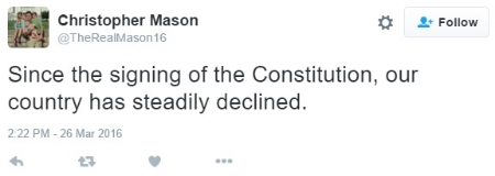 """Perhaps he was referring to a different """"the Constitution"""" than the one he chose as his Twitter cover photo."""