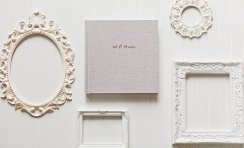 Image of empty white frames and a luxury wedding album.  This is an aerial view of the frames and fine art album in a display against a white background.  This image shows the products of Debra Eby, Jacksonville Fine Art photographer