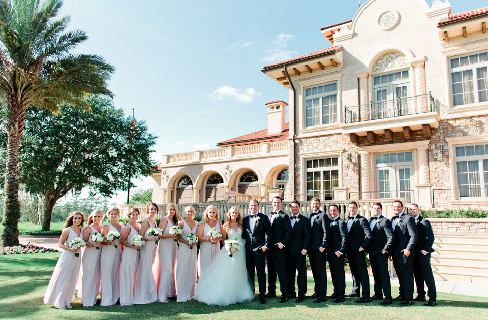 Image of a bridal party on the wedding day at TPC Sawgrass in Ponte Vedra, Florida