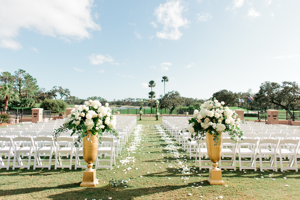 Image of the ceremony site for a wedding at TPC Sawgrass in Ponte Vedra, Florida
