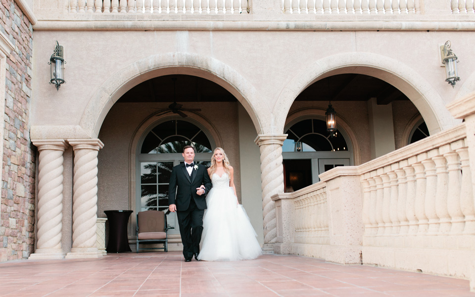 Image of a bride and her father about to walk her down the aisle on her wedding day at TPC Sawgrass in Ponte Vedra, Florida