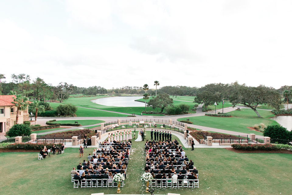 Image of a ceremony overlooking the golf course at TPC Sawgrass in Ponte Vedra, Florida