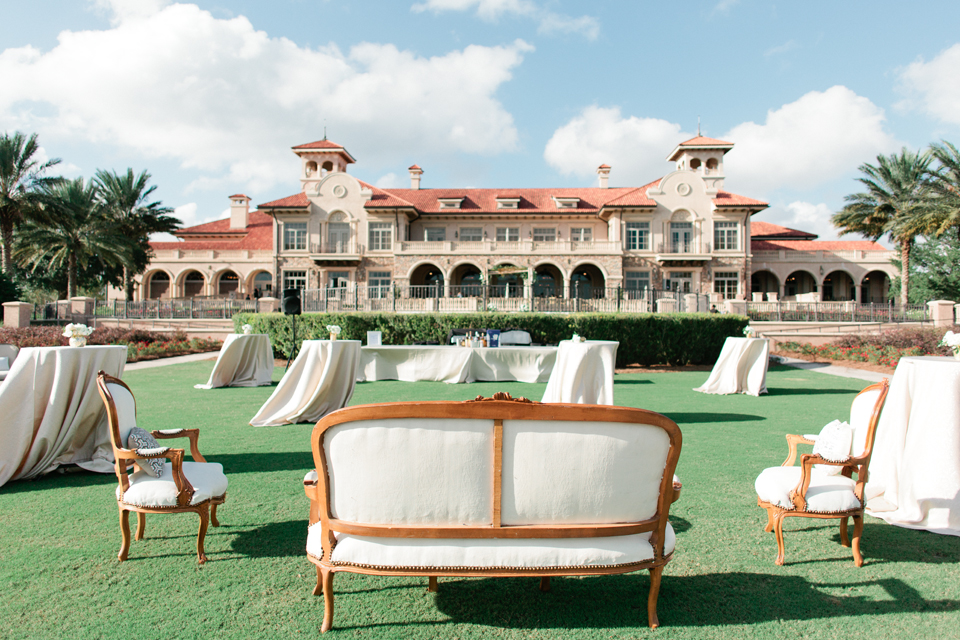 Image of cocktail hour set-up with lounge furniture at TPC Sawgrass at Ponte Vedra, Florida