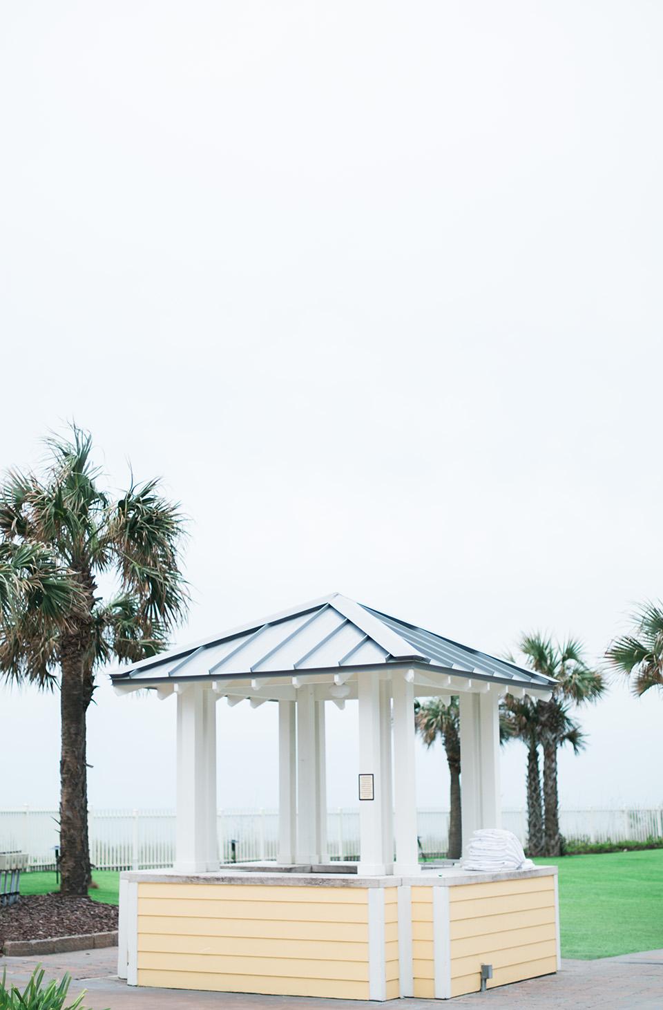 Image of a coastal pavilion, light yellow,  at the Omni Amelia Island Plantation Resort.
