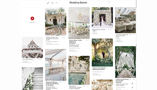 Image of a Pinterest board about wedding details.