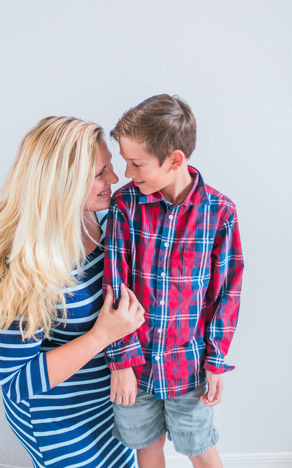 Picture of a mother and her son, looking at each other in Ormond Beach, Florida.