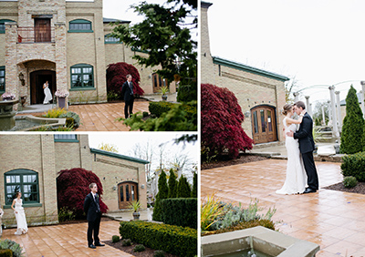 """Image of a bride and groom having a """"first look"""" on their wedding day.  Three images showing the progression of the """"first look"""".  