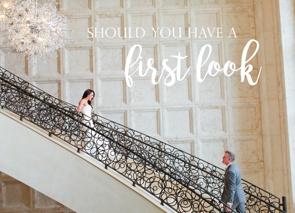 """Image of a """"first look"""" on a wedding day with a bride and groom on the staircase of The Four Seasons Walt Disney World Resort in Orlando Florida.  