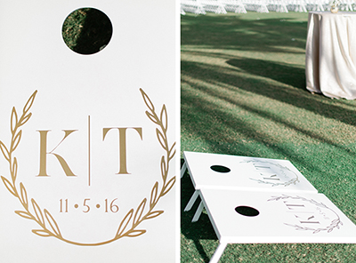 Wedding Day Cornhole Game, customized couple logo.  TPC Sawgrass in Ponte Vedra Florida. | Debra Eby Photography Co.