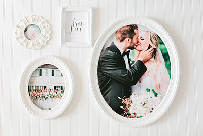 Collage of wedding images with framed hand lettering.  Images are in circular white frames with decorated edging.  The background is white.  | Debra Eby Photography Co.