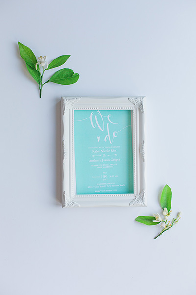 Picture of a wedding invitation in a frame.  Use your wedding invitation art as wall decor.  | Debra Eby Photography Co.