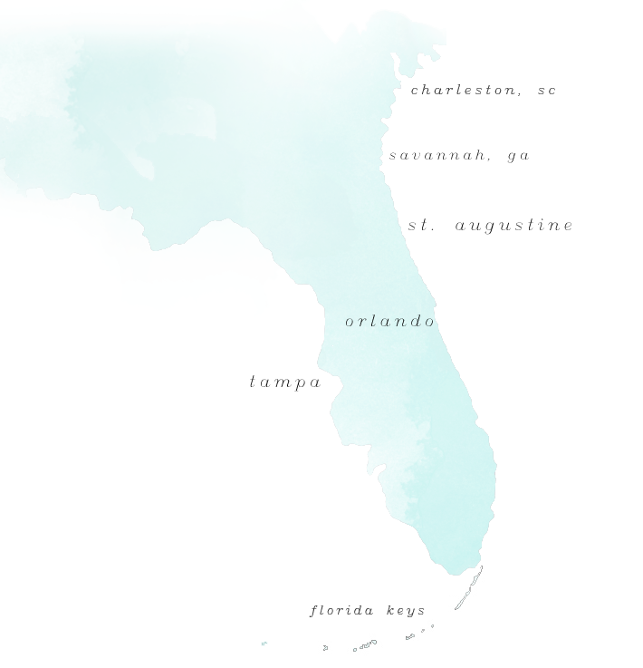Map of the southeastern United States, where Debra Eby Photography captures weddings.