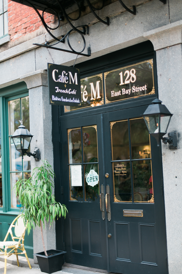 Outside Cafe M in historic Savannah Georgia, a Parisian cafe