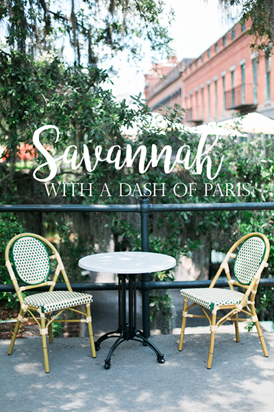 A dash of Paris in Savannah.  A table and two chairs outside Cafe M in Historic Savannah, Georgia.