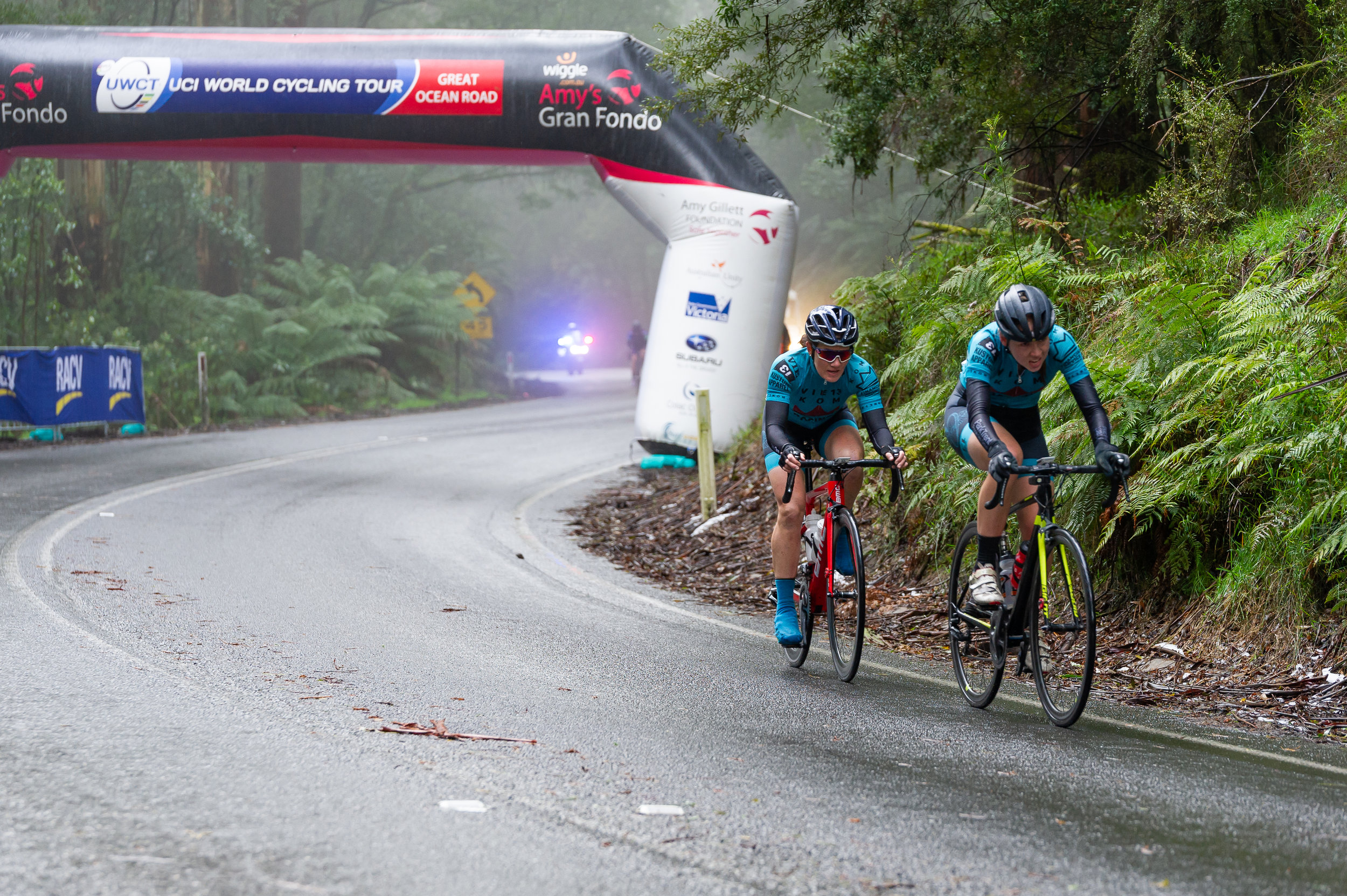 Bridget and Kirsty climb together over the second QOM. Photo credit: Photos by Ernesto.