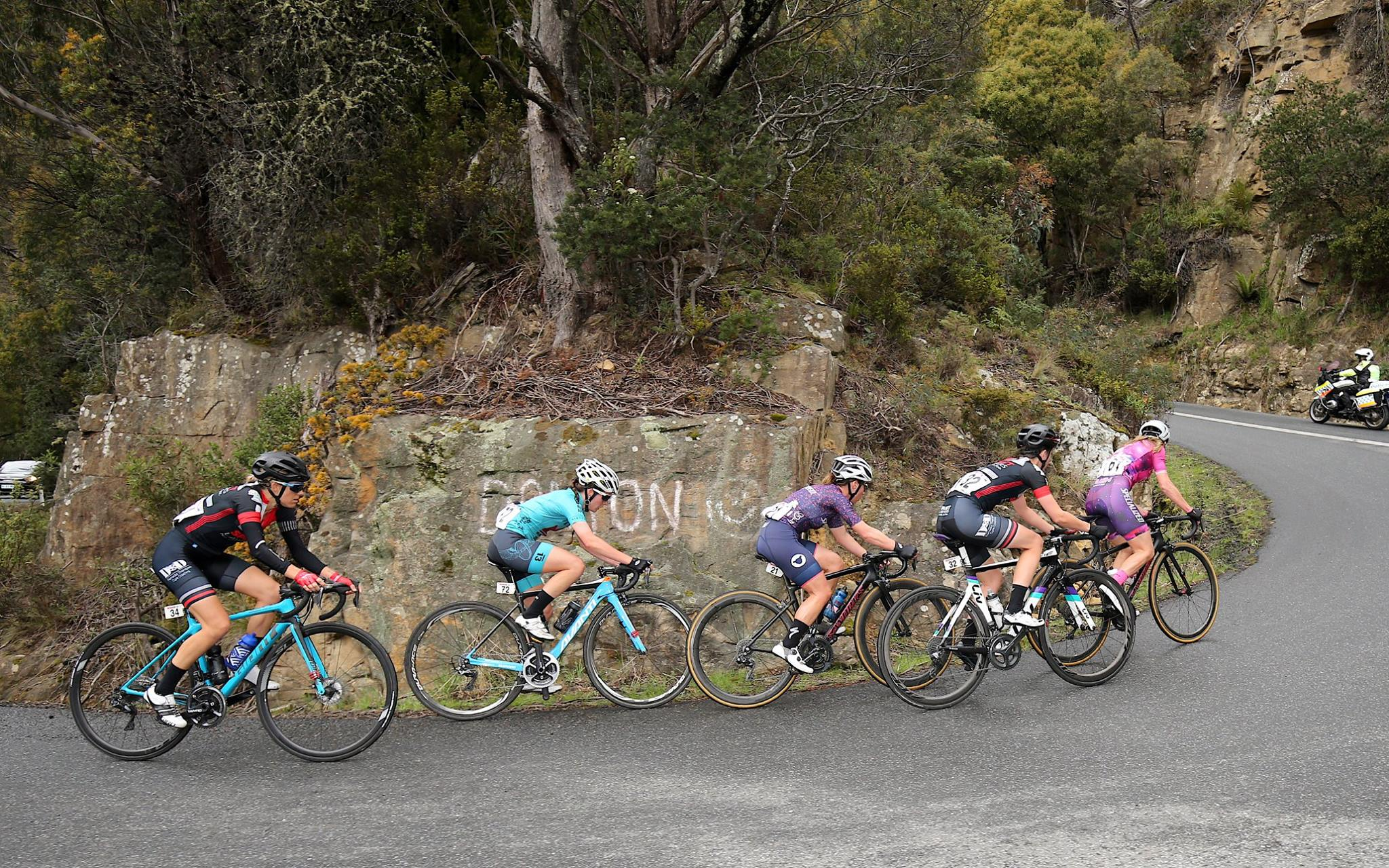 Kmac in the final group of five going up Poatina. Photo credit: Con Chronis Photography.