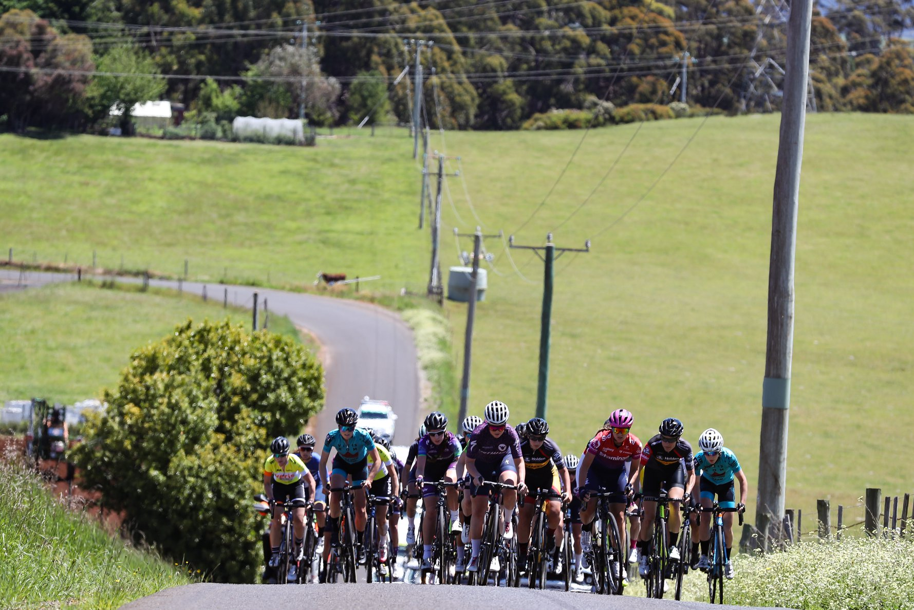 Lizzie (L) and Kmac (R) both stayed near the front for all the climbs. Photo credit: Con Chronis Photography.