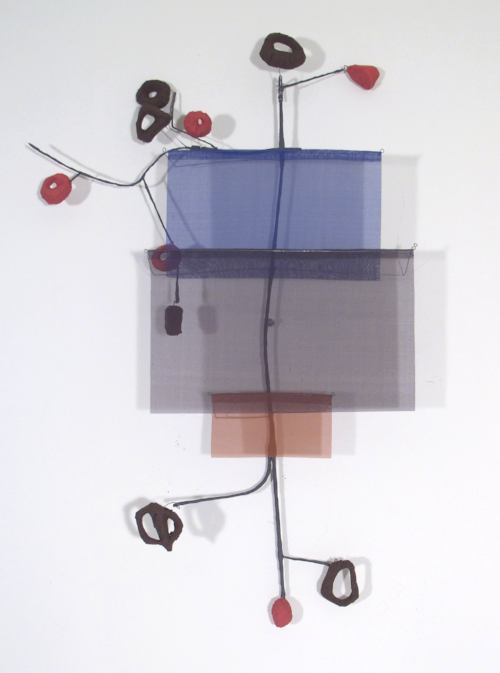 Floating Drawing no. 7,  2011, wire, paper, silk, gouache,  22 × 33 × 4 inches