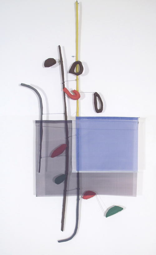Floating Drawing no. 6,  2011, wire, paper, silk, gouache,  22 × 51 × 4 inches
