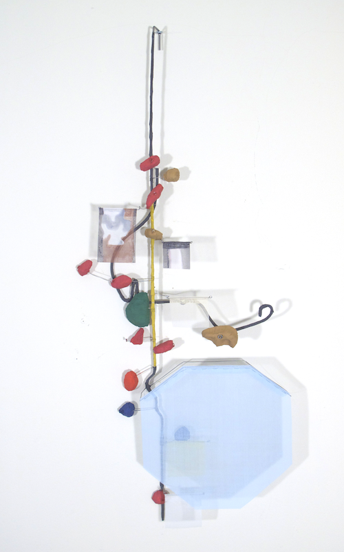 Floating Drawing no. 9 . 2011, wire, paper, silk, gouache . 13 × 35 × 4 inches