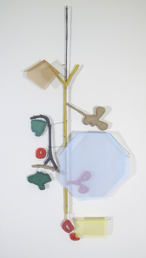 Floating Drawing no. 10 . 2011, wire, paper, silk, gouache . 14 × 43 × 4 inches