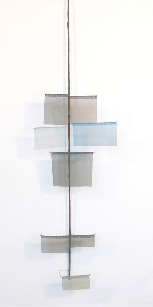 Floating Drawing no. 28 .   2014, wire, paper, silk, gouache,    11 × 42 × 3 inches
