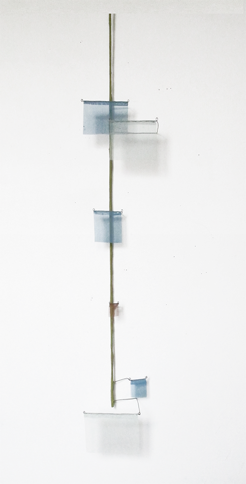 Floating Drawing no. 27 .   2014, wire, paper, silk, gouache,    7 × 39 × 3 inches