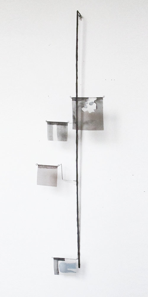 Floating Drawing no. 29 .   2014, wire, paper, silk, gouache,     7 × 32 × 3 inches