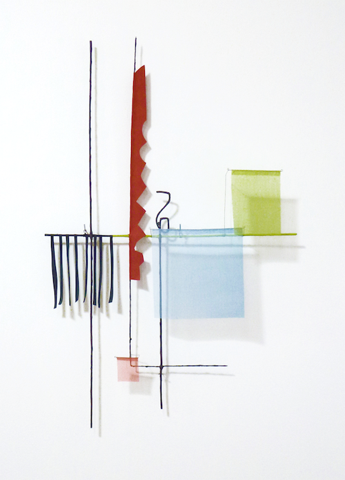 Floating Drawing no. 24,    2014, wire, paper, silk, gouache .   24 × 37 × 4 inches