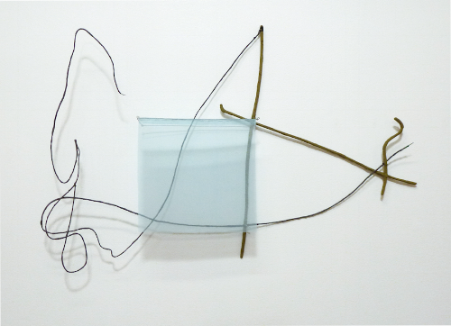 Floating Drawing no. 11,    2012, wire, paper, silk, gouache,    35 × 21 × 3 inches