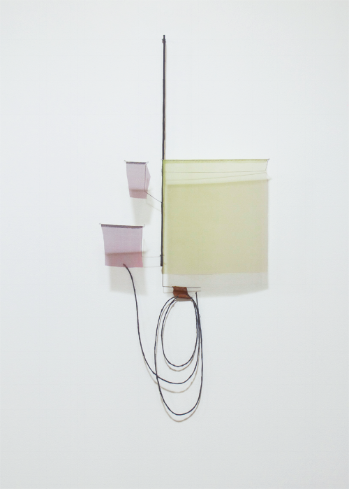 Floating Drawing no. 20,  2013, wire, paper, silk, gouache,  42 × 19 × 4 inches