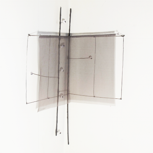 Floating Drawing no. 31,  2014, wire, paper, silk, gouache,  12 × 12 × 27 inches