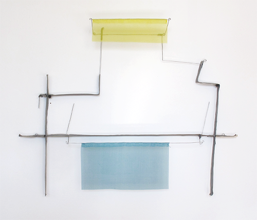 Floating Drawing no. 35,  2015, wire, paper, silk, gouache,  20 × 23 × 3 inches